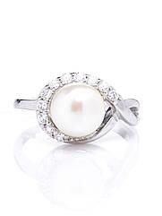 Кільце срібне з перлами R-305 (р. 16.0)