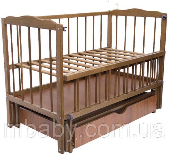 Детская кроватка Малыш ( орех), с откидной боковинкой на маятнике с  ящиком