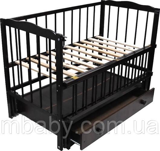 Детская кроватка Малыш (венге), с откидной боковинкой на маятнике с  ящиком