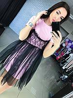 Женское красивое платье с сеткой (3 цвета), фото 1