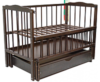 Детская кроватка Малыш (темный орех), с откидной боковинкой на маятнике с  ящиком, фото 1