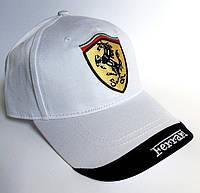 Кепка мужская Ferrari. Женская кепка. Бейсболка | белая