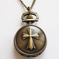 """Часы кармманные на цепочке  """"Крест"""" под бронзу."""