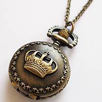 "Карманные часы кулон ""Корона"" под бронзу."