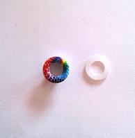 Блочка (люверс) 6 мм эмаль с рисунком № 4 с пластиковым кольцом