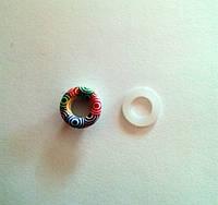Блочка (люверс) 6 мм эмаль с рисунком № 5 с пластиковым кольцом