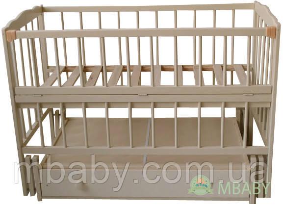 Детская кроватка Малыш (слоновая кость), с откидной боковинкой на маятнике с  ящиком