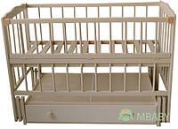 Детская кроватка Малыш (слоновая кость), с откидной боковинкой на маятнике с  ящиком, фото 1