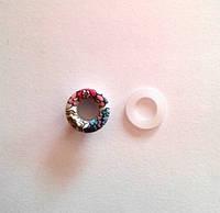 Блочка (люверс) 6 мм эмаль с рисунком № 8 с пластиковым кольцом