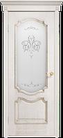 Двери шпонированные Престиж белый ясень с витражом