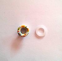 Блочка (люверс) 6 мм эмаль с рисунком № 11 с пластиковым кольцом