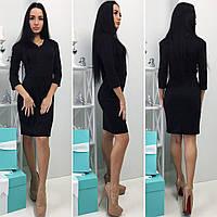 Красивое женское черное платье с рукавами 3/4. Арт-1283/49