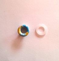 Блочка (люверс) 6 мм эмаль с рисунком № 15 с пластиковым кольцом