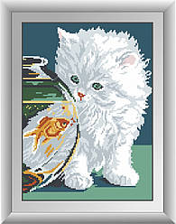 Алмазная мозаика Dream Art Белый котенок (DA-30343) 27 х 37 см