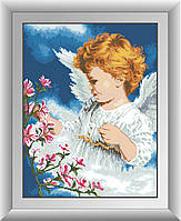 Картина из страз Dream Art Ангел с цветами (DA-30378) 40 х 52 см