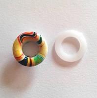 Блочка (люверс) 8 мм эмаль с рисунком № 3 с пластиковым кольцом