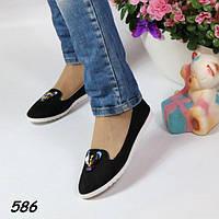 Балетки женские мягкие черные 586