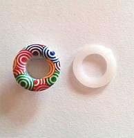 Блочка (люверс) 8 мм эмаль с рисунком № 5 с пластиковым кольцом