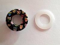 Блочка (люверс) 10 мм эмаль с рисунком № 1 с пластиковым кольцом