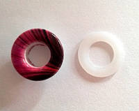 Блочка (люверс) 10 мм эмаль с рисунком № 2 с пластиковым кольцом