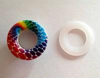 Блочка (люверс) 10 мм эмаль с рисунком № 4 с пластиковым кольцом