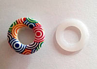 Блочка (люверс) 10 мм эмаль с рисунком № 5 с пластиковым кольцом