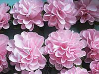 Бумажные цветочки хризантемы для скрапбукинга 4,5 см на ножке розовые, фото 1