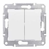 Переключатель 2-клавишный (выключатель проходной), белый, Sсhneider Electric Sedna Шнайдер Седна