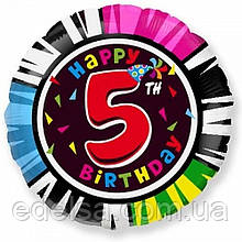 """Куля круглий з цифрою 5 """"з днем народження"""" з гелієм 45 см Іспанія"""