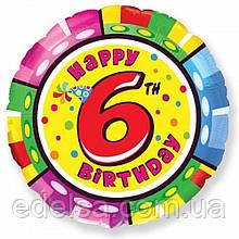 """Куля круглий з цифрою 6 """"з днем народження"""" з гелієм 45 см Іспанія"""