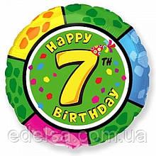 """Куля круглий з цифрою 7 """"з днем народження"""" з гелієм 45 см Іспанія"""