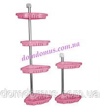 """Полиця кутова в ванну """"Фіалка"""" D-09, рожева"""