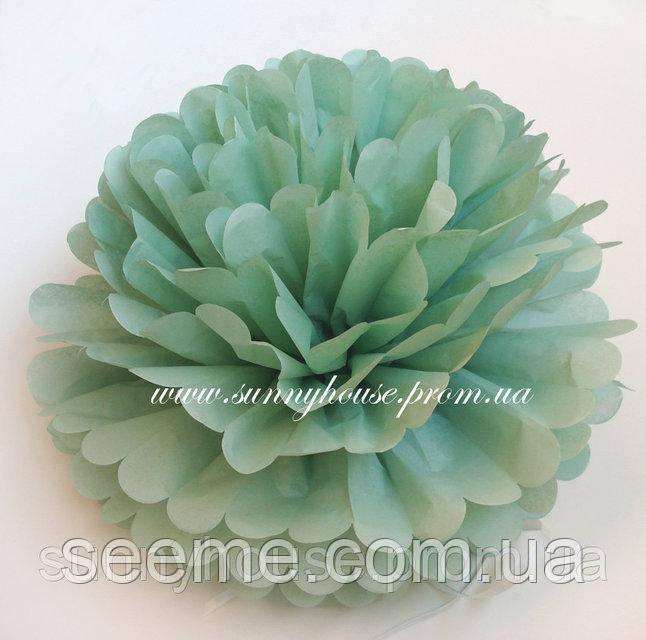 Бумажные помпоны из тишью «Cedar Green», диаметр 25 см.