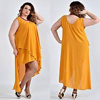 Легкое платье из шифона для полных женщин 0515 горчица