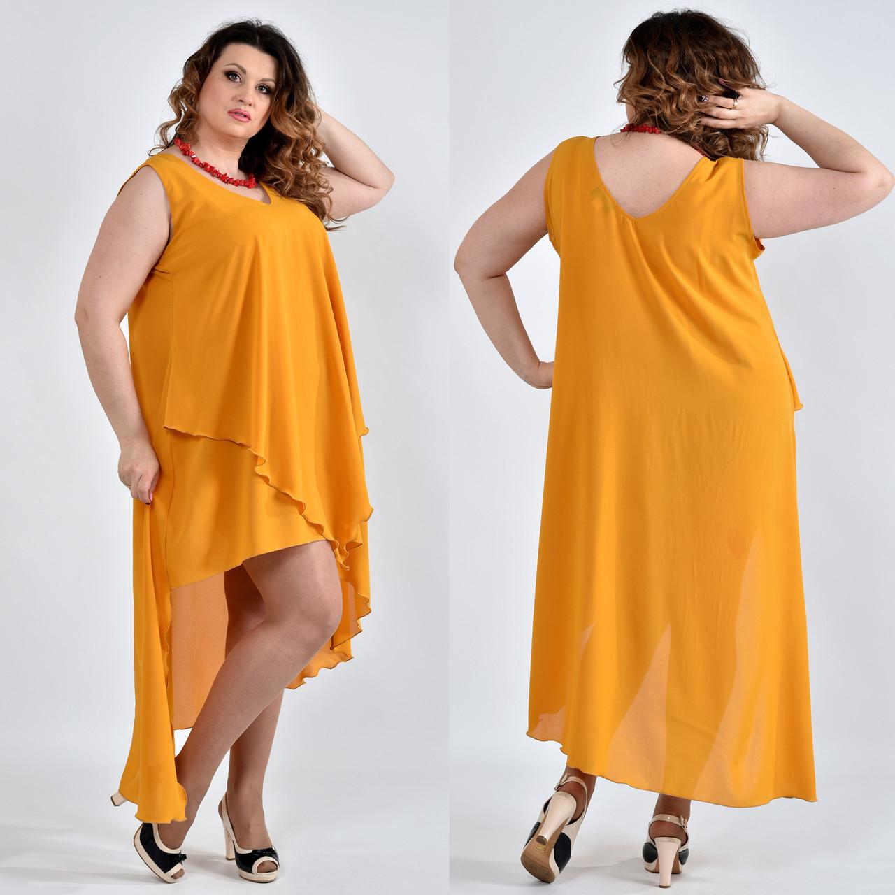 c6bd6e5e6f2038b Легкое платье из шифона для полных женщин 0515 горчица - DS Moda - женская  одежда оптом