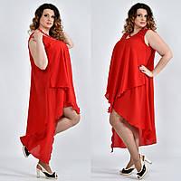 Легкое платье из шифона для полных женщин 0515 красное