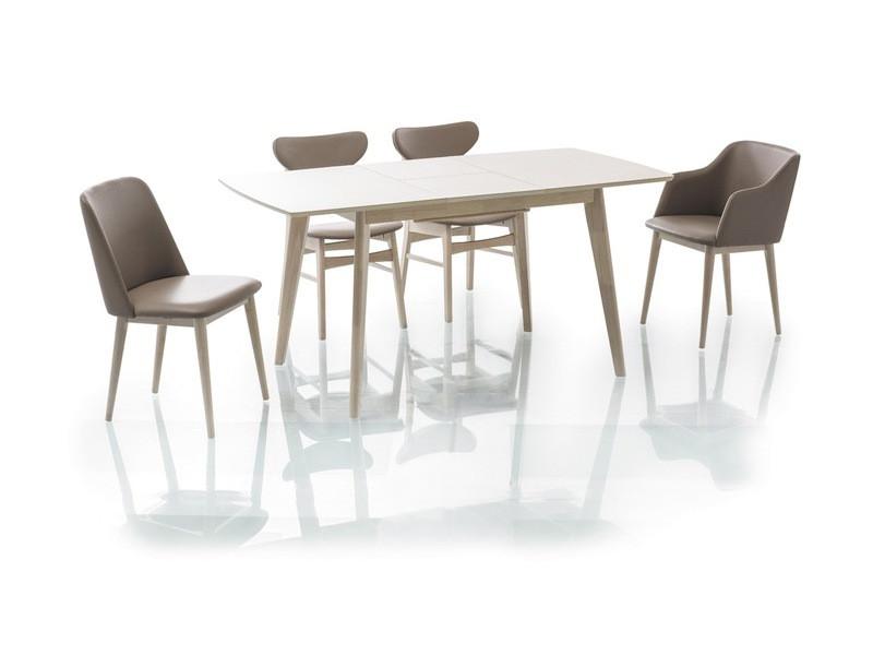 Стол раскладной деревянный кухонный обеденный на кухню столовый белый дуб COMBO II 120x75(160) (Signal)