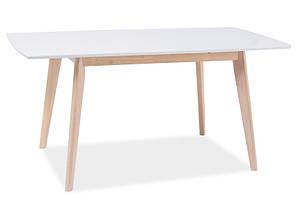 Стол раскладной деревянный кухонный обеденный на кухню столовый белый дуб COMBO II 120x75(160) (Signal), фото 2