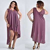 Легкое платье из шифона для полных женщин 0515 слива