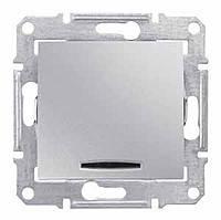 Переключатель с подсветкой (выключатель проходной), алюминий, 16А, Sсhneider Electric SEDNA Шнайдер Седна