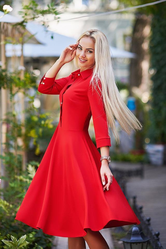 8b06b7dd3dd Стильное женское платье - рубашка с юбкой солнце клёш ниже колена ...