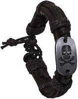 Браслет кожаный «Череп» коричневый Pure Trash 28152A