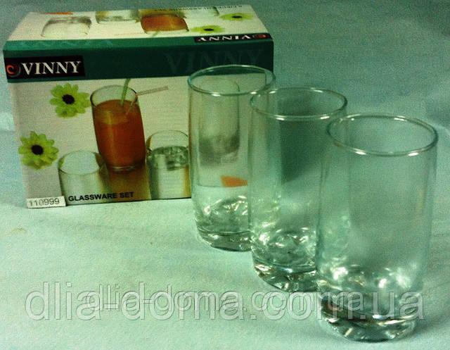Набір стаканів зі скла 6 шт, Висота 13,5 см