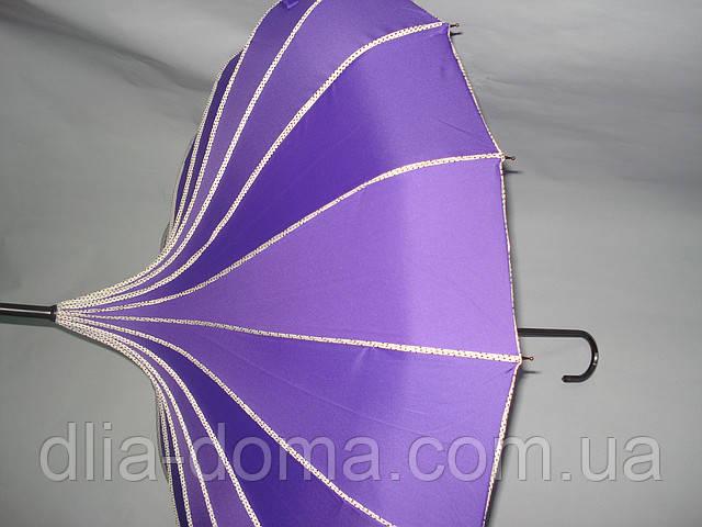 """Зонт женский в китайском стиле """" Пагода"""" Сиреневый"""