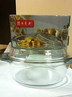 Кастрюля с крышкой из жаропрочного стекла 1 литр