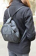 Кожаный женский рюкзак-сумка трансформер 8-12 л. 4U Cavaldi CVLD 59332-2 чёрный