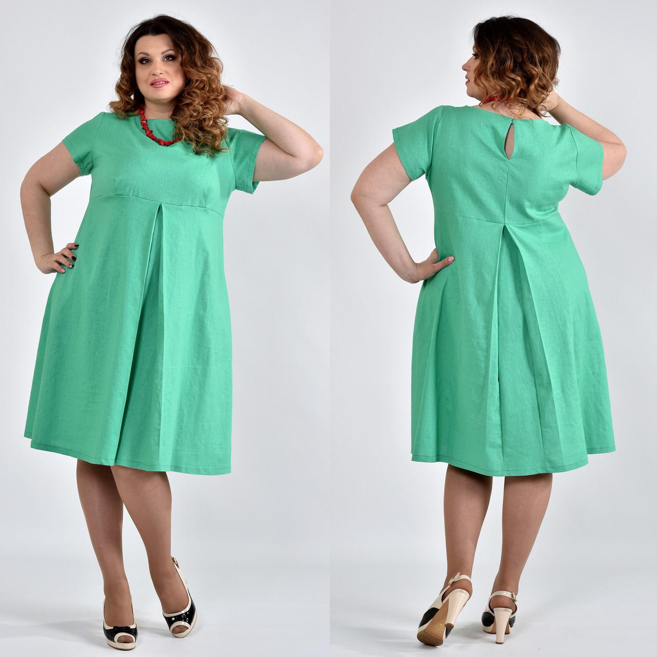 fcbd63ea36e Зеленое платье из льна для полных 0507 - DS Moda - женская одежда оптом от  производителя