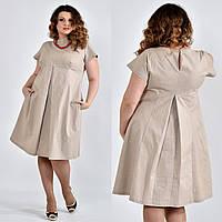 Бежевое платье из льна для полных 0507