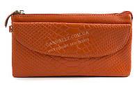 Женская удобная сумочка-барсетка с плечевым ремешком из натуральной кожи Б/Н art. 202 оранжевый