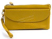 Женская удобная сумочка-барсетка с плечевым ремешком из натуральной кожи Б/Н art. 202 желтый